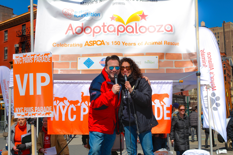 Emcees Maria Milito & Sean-Patrick Hillmanat of Mayor's Alliance for NYC's Animals' annual Adoptapalooza