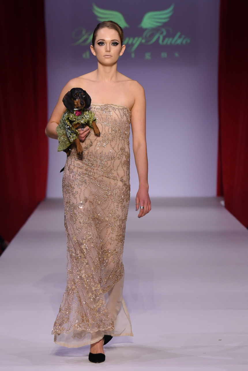 Anthony Rubio Fall/Winter 2016 - New York Fashion Week Women's Wear & Canine Couture Female Model: Ariana Canine Model: Dex Photo by: Ken Alcazar