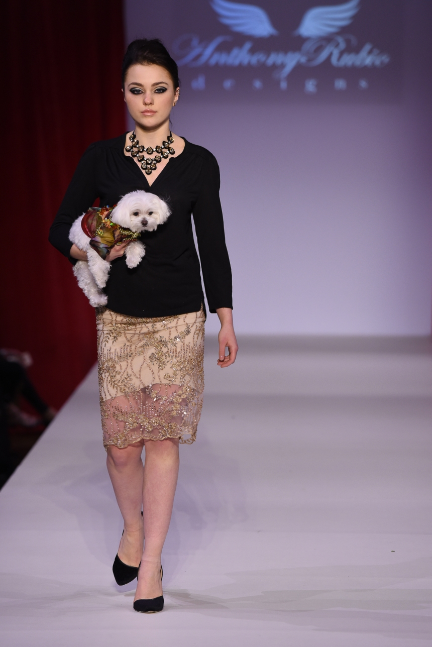 Anthony Rubio Fall/Winter 2016 - New York Fashion Week Women's Wear & Canine Couture Female Model: Olivia Cypcarz Canine Model: Mochi, @MochiAndTheCity Photo by: Ken Alcazar
