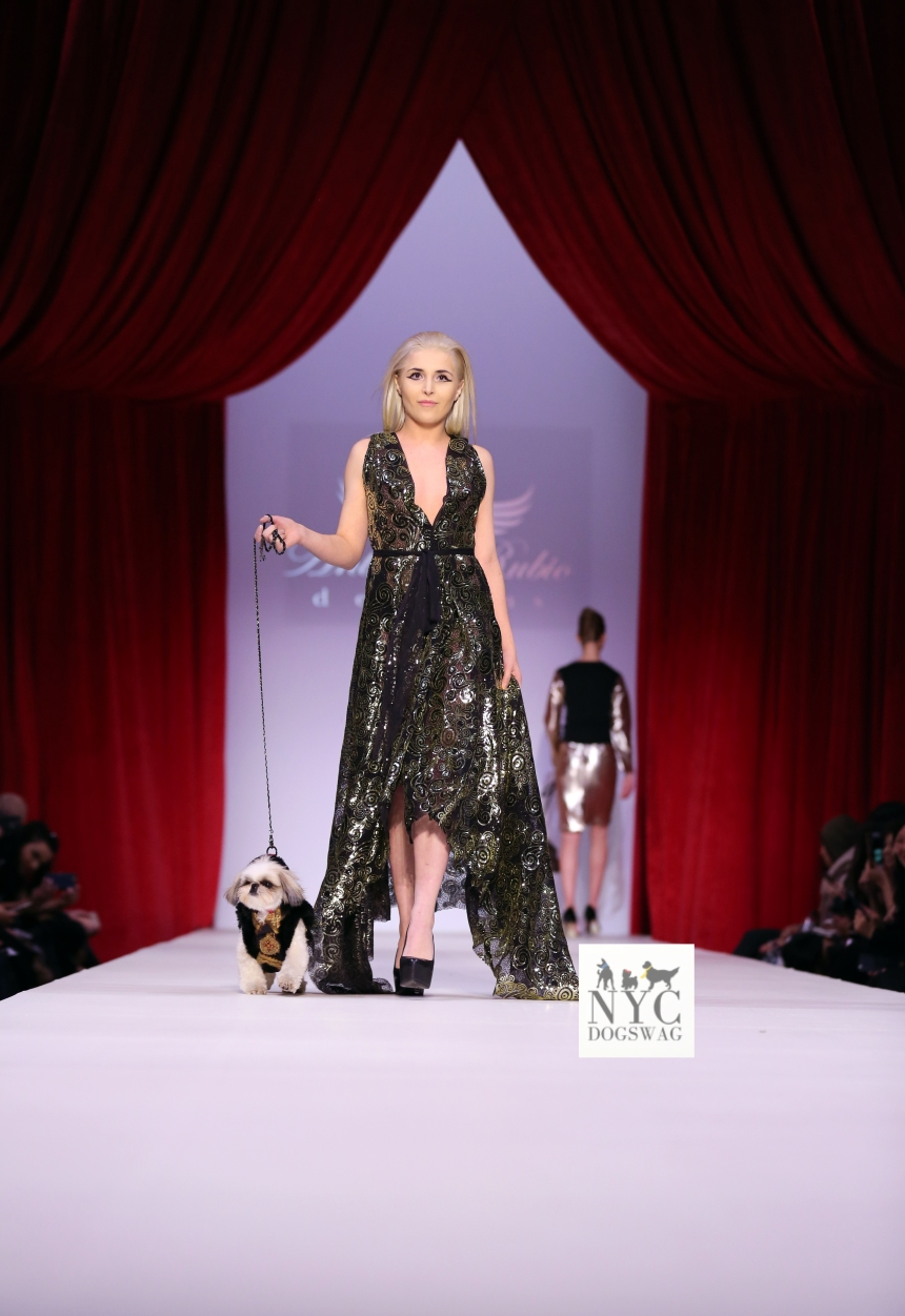 Anthony Rubio Fall/Winter 2016 - New York Fashion Week Women's Wear & Canine Couture Female Model: Luybava Che Canine Model: Marshall, MarshmallowPup09 Photo by: Jason Howard