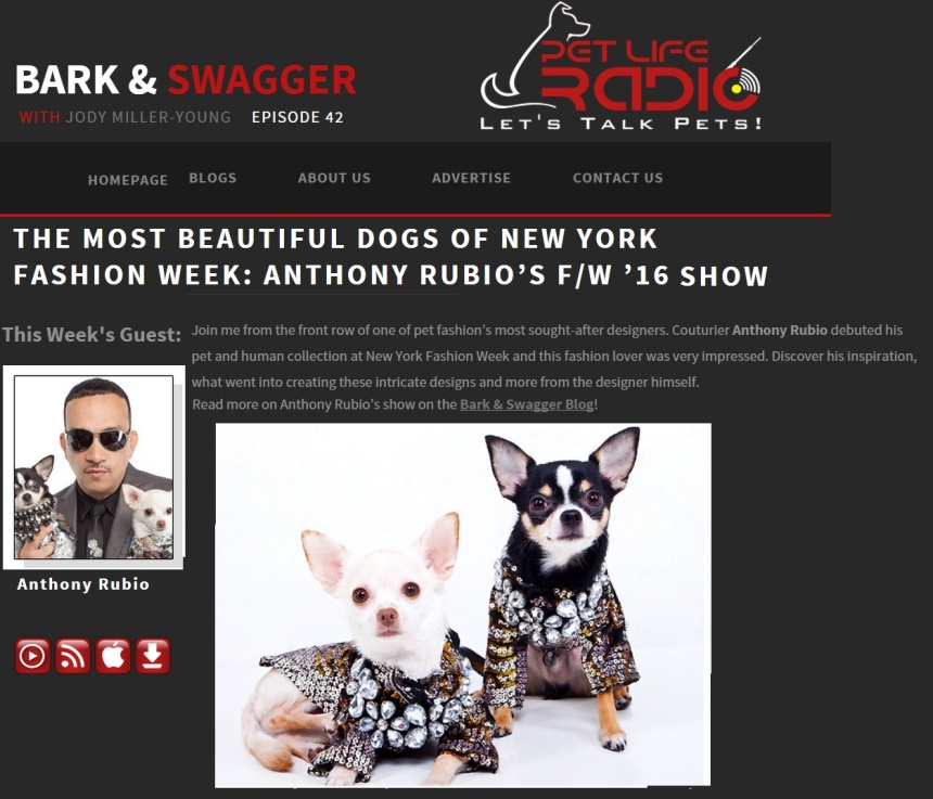 Anthony Rubio's interview on Bark & Swagger Pet Life Radio Show
