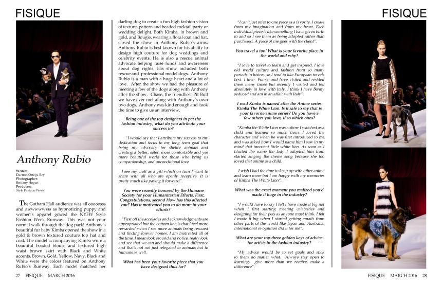 Anthony Rubio featured in FISIQUE Magazine