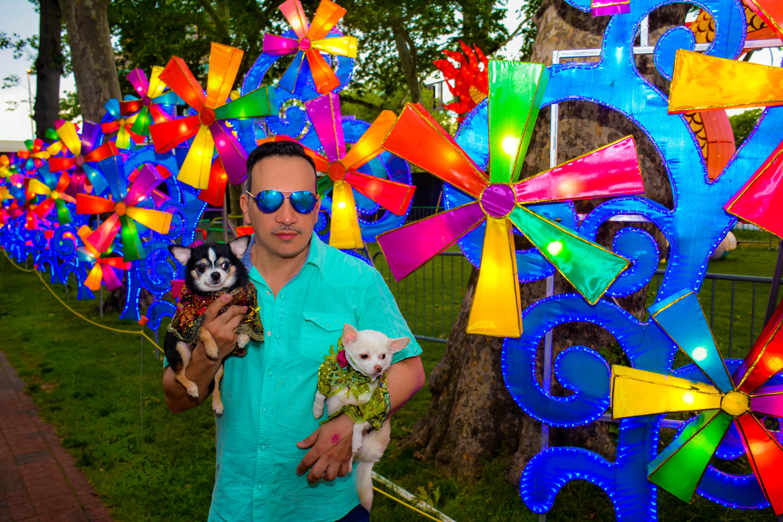 Anthony Rubio with Chihuahua duo Bogie and Kimba visit Philadelphia Chinese Lantern Festival