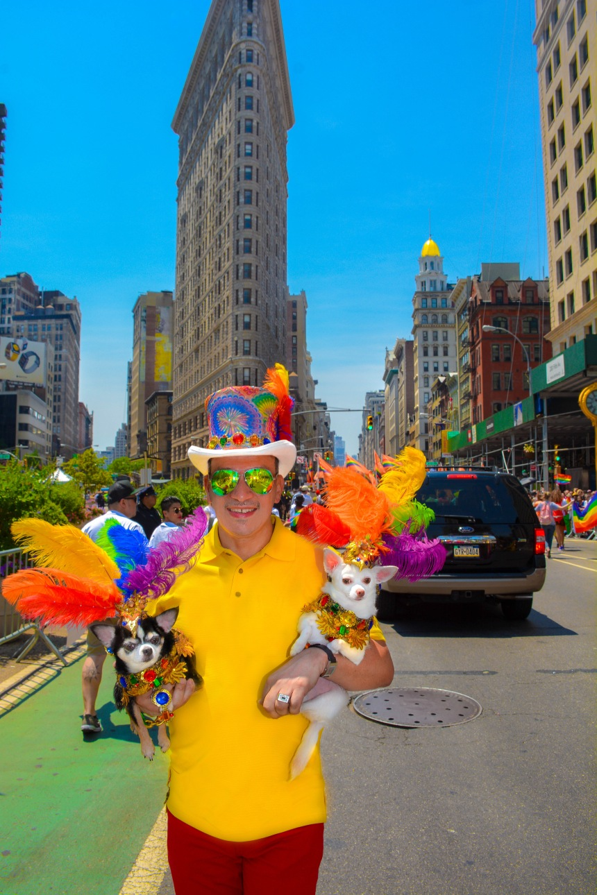 Anthony Rubio and Bogie and Kimba marched in the 46th Annual Pride Parade in New York City
