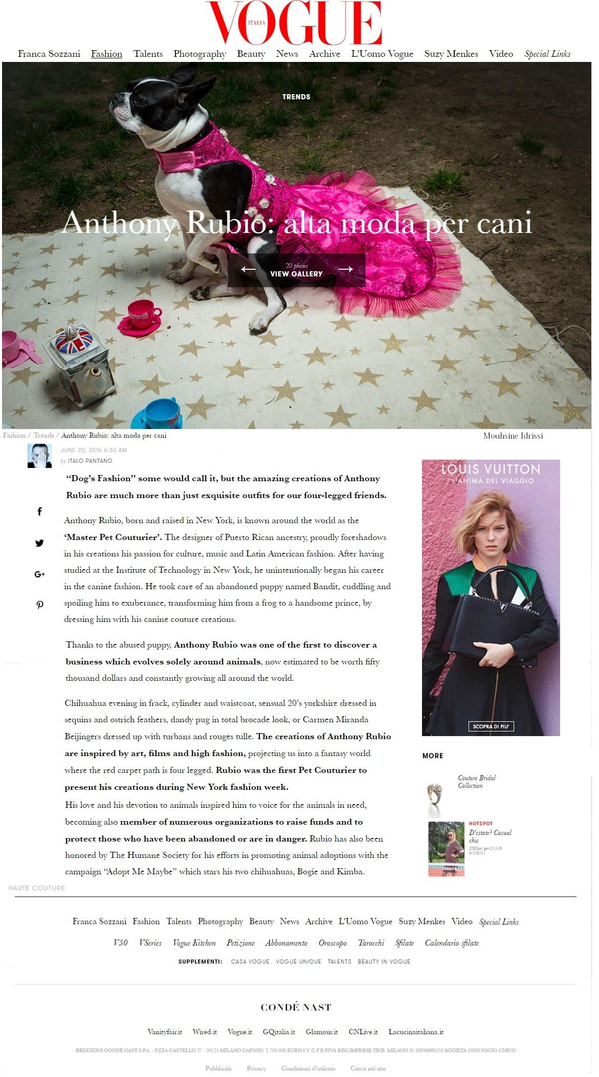 Anthony Rubio Featured in Vogue Italia
