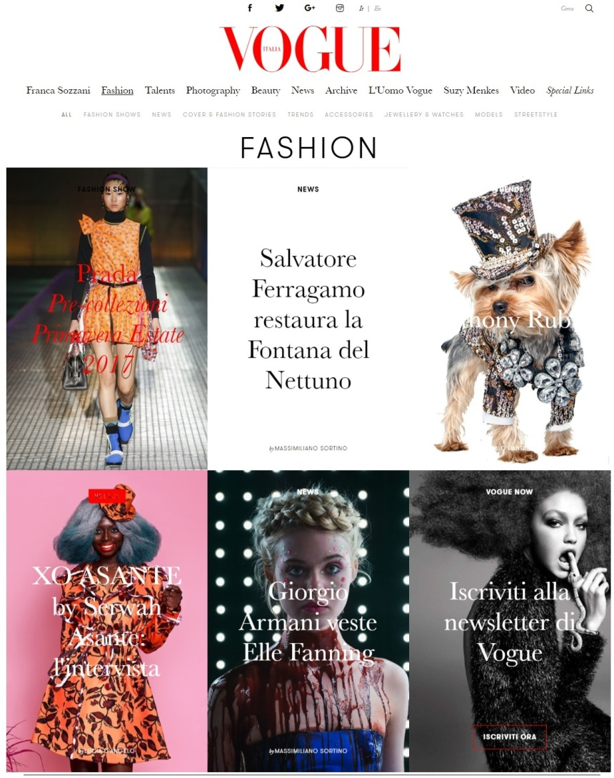 Anthony Rubio Designs featured article in Vogue Italia Front Page of Vogue website