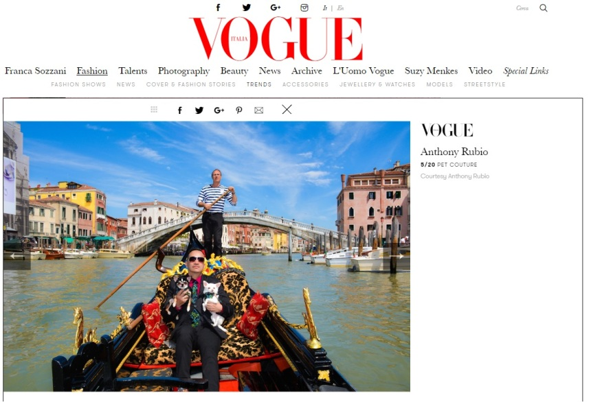 Anthony Rubio Designs featured article in Vogue Italia Photo by Rob Robb