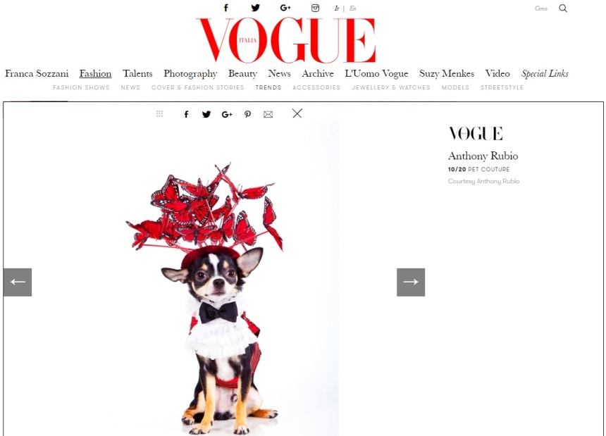 Anthony Rubio Designs featured article in Vogue Italia Photo by Yoni Levy Model: Bogie