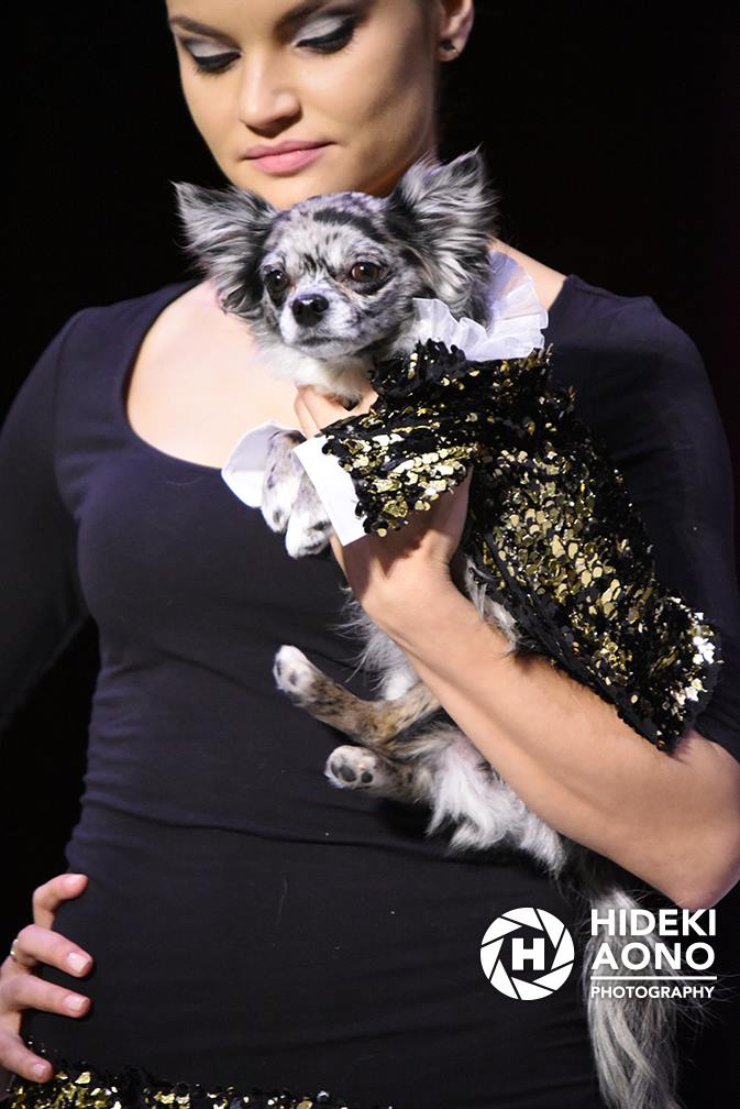 Anthony Rubio Fall/Winter 2016 - New York Fashion Week Women's Wear & Canine Couture Female Model: Elenka Lenka Canine Model: Pebbles of @FlintstonePups Photo by: Hideki Aono