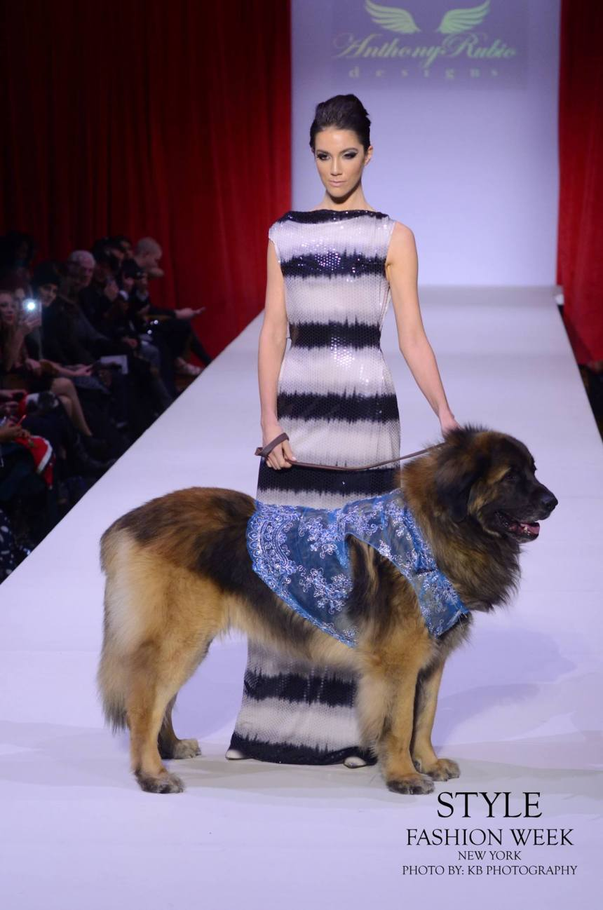Anthony Rubio Fall/Winter 2016 - New York Fashion Week Women's Wear & Canine Couture Female Model: Nicole Cuizon Canine Model: Henry Photo by: KB Photography