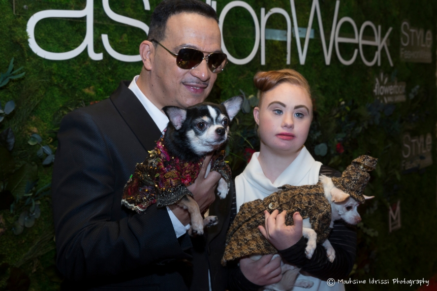 Anthony Rubio Fall/Winter 2016 - New York Fashion Week  Women's Wear & Canine Couture with model Madeline Stuart. Red Carpet at Gotham Hall Photo by Mouhsine Idrissi Janati
