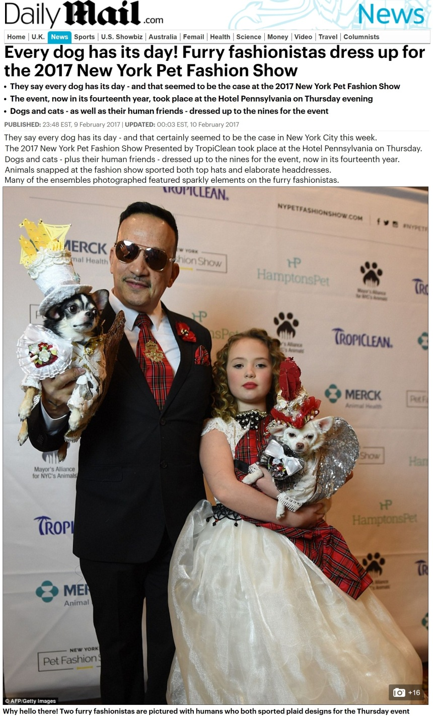 Anthony Rubio featured in the UK Daily Mail. Photo taken at the 2017 New York Pet Fashion show