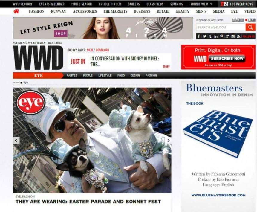 Anthony Rubio featured in Women's Wear Daily for his millinery for dogs