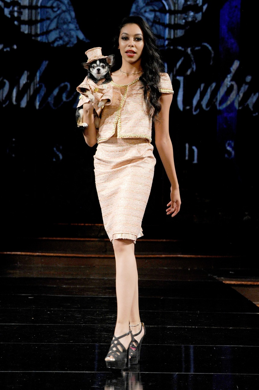 Anthony Rubio Spring/Summer 2018 Women's Wear & Canine Couture New York Fashion Week Photo by Arun Nevader - Getty Images Model: Elena Martinez Canine Model: Bogie (@BogieAndKimba)