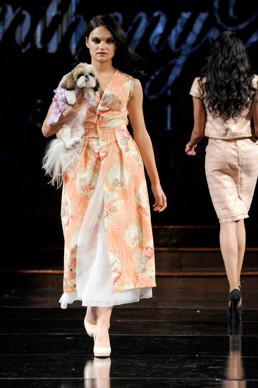 Anthony Rubio Spring/Summer 2018 Women's Wear & Canine Couture New York Fashion Week Photo by Arun Nevader - Getty Images Model: Elenka Lenka Canine Model: @CeiliThePuppy