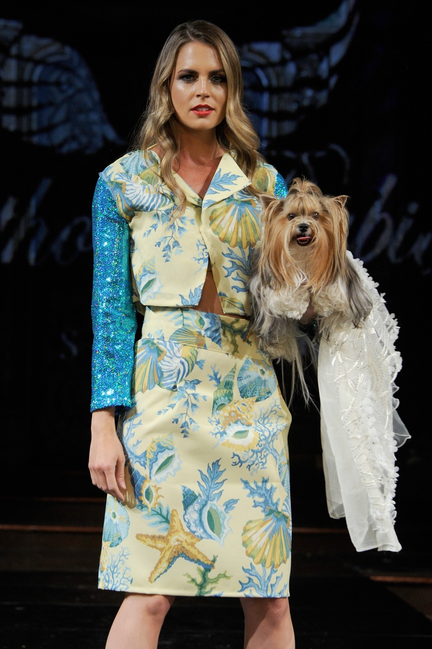 Anthony Rubio Spring/Summer 2018 Women's Wear & Canine Couture New York Fashion Week Photo by Arun Nevader - Getty Images Model: Lindsey K Weller Canine Model: @GertieGlamGirl
