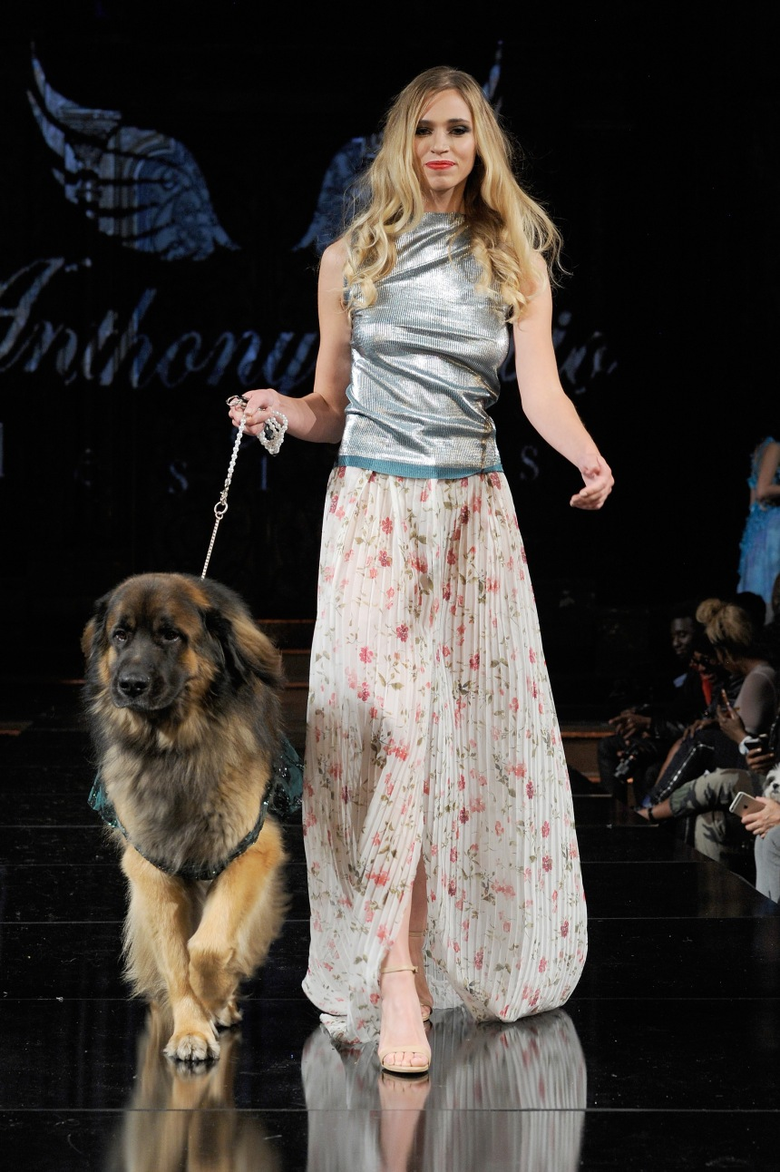 Anthony Rubio Spring/Summer 2018 Women's Wear & Canine Couture New York Fashion Week Photo by Arun Nevader - Getty Images Model: Olya Jay Canine Model: Hollywood The Leonberger