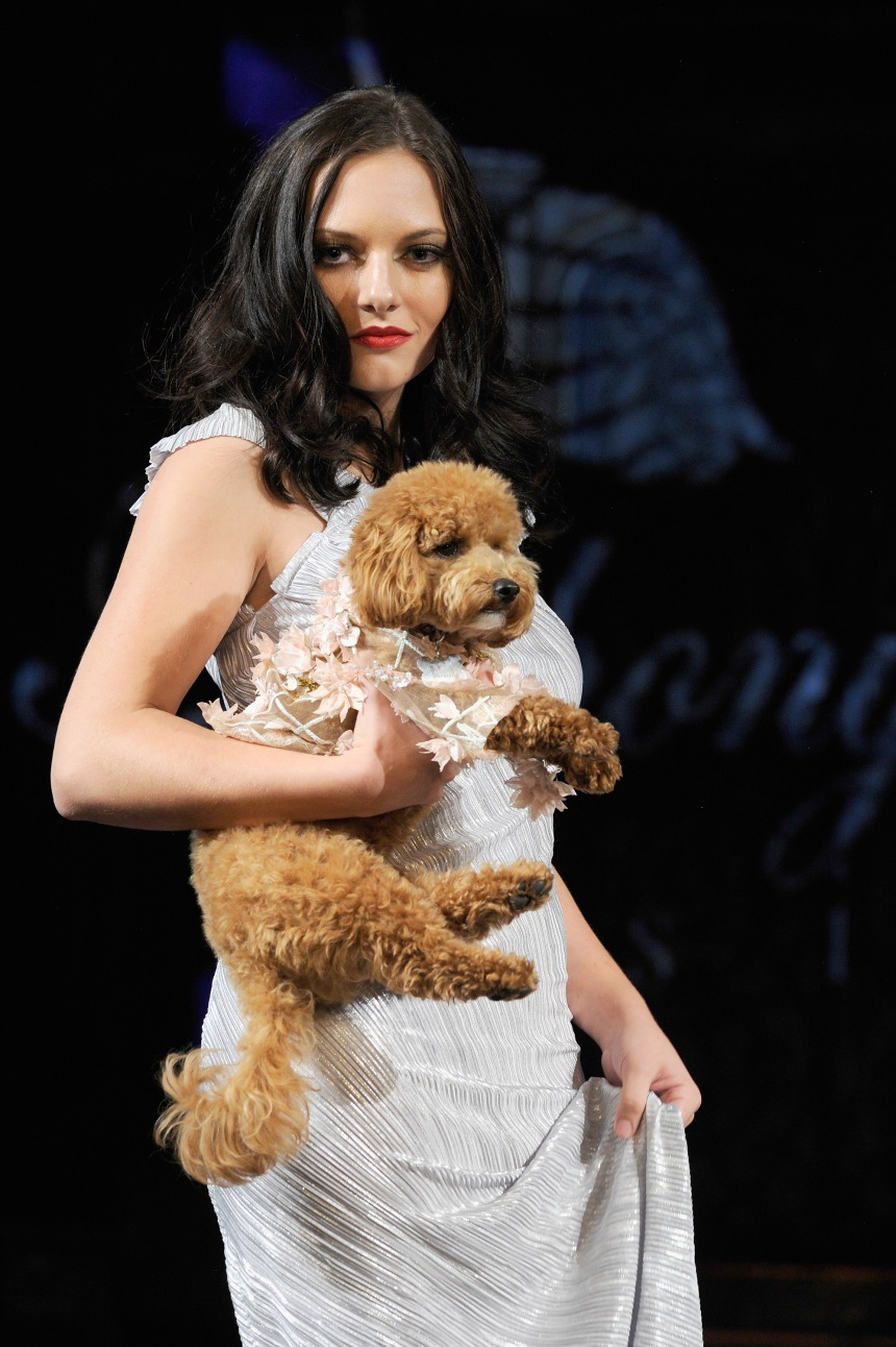 Anthony Rubio Spring/Summer 2018 Women's Wear & Canine Couture New York Fashion Week Photo by Arun Nevader - Getty Images Model: Jami Lyn Canine Model: @BubalahPoochie