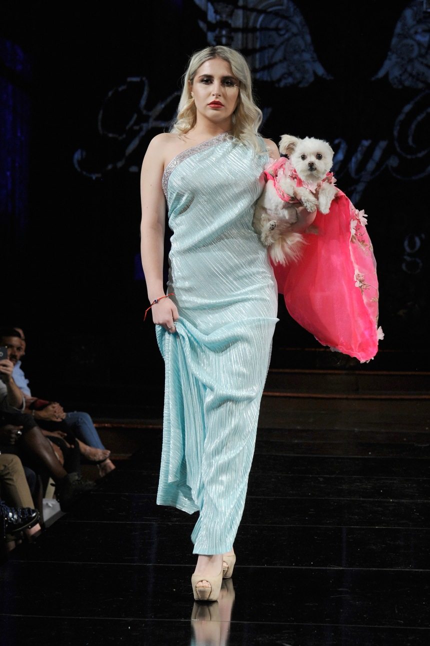 Anthony Rubio Spring/Summer 2018 Women's Wear & Canine Couture New York Fashion Week Photo by Arun Nevader - Getty Images Model: Liubava Che Canine Model: Gizzy (@NewYorkDog)
