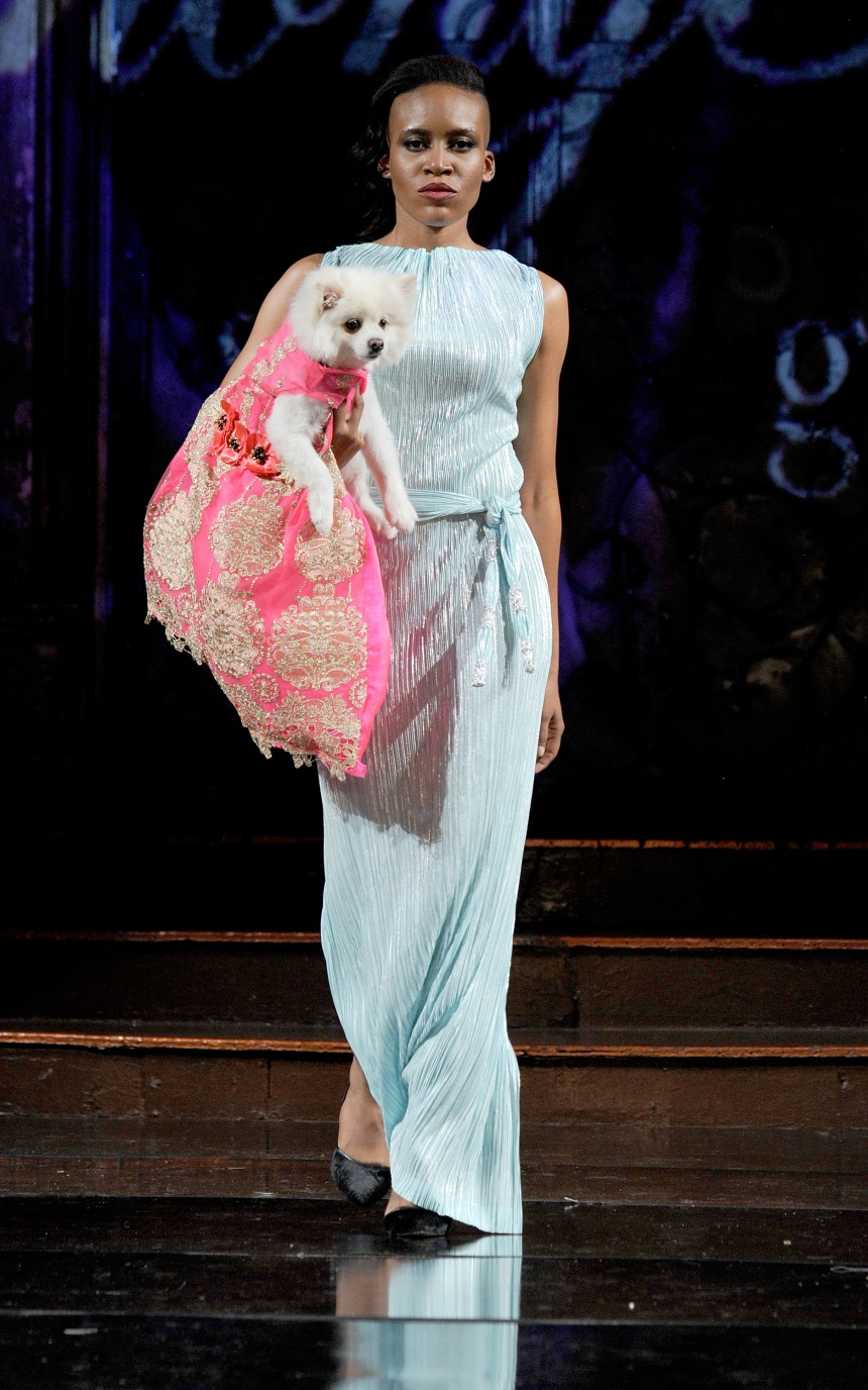 Anthony Rubio Spring/Summer 2018 Women's Wear & Canine Couture New York Fashion Week Photo by Arun Nevader - Getty Images Model: Vivian Nwoke Canine Model: Luna (@SebastianLovesLuna)
