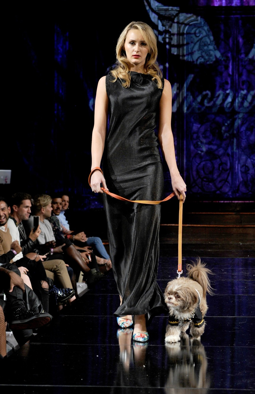 Anthony Rubio Spring/Summer 2018 Women's Wear & Canine Couture New York Fashion Week Photo by Arun Nevader - Getty Images Model: Lauren Casarona Canine Model: Henry
