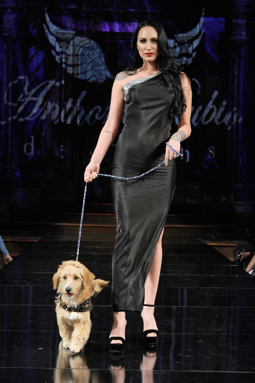 Anthony Rubio Spring/Summer 2018 Women's Wear & Canine Couture New York Fashion Week Photo by Arun Nevader - Getty Images Model: Christina Galioto Canine Model: @Mr.MonsterPup