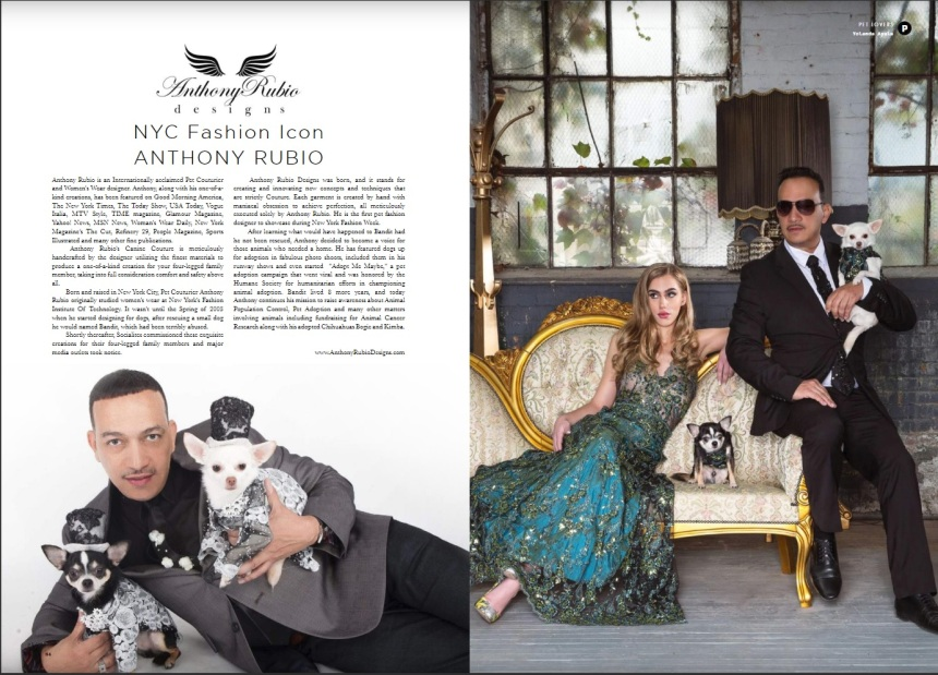 Anthony Rubio and his Canine Couture in Woman Magazine