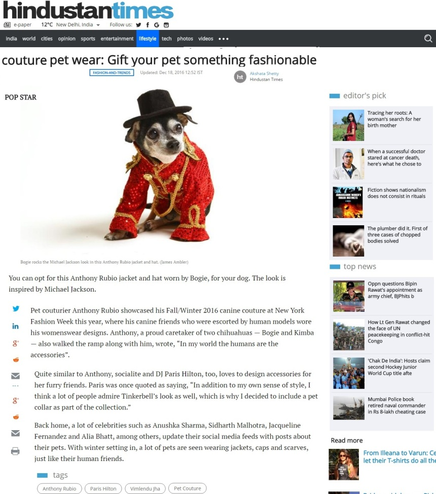 Anthony Rubio's Canine Couture in Hindustan Times in India