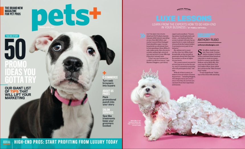 Anthony Rubio featured article in Pets+ Magazine - Gowns For Dogs