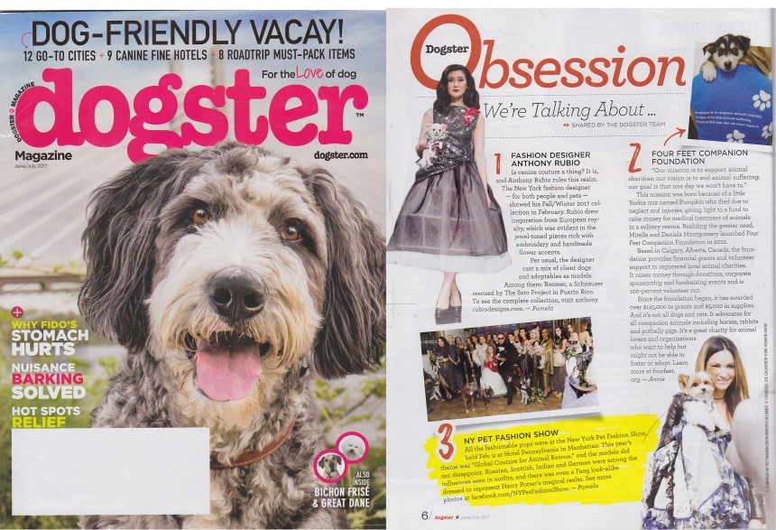 Anthony Rubio's Runway Show for New York Fashion Week featured in Dogster Magazine