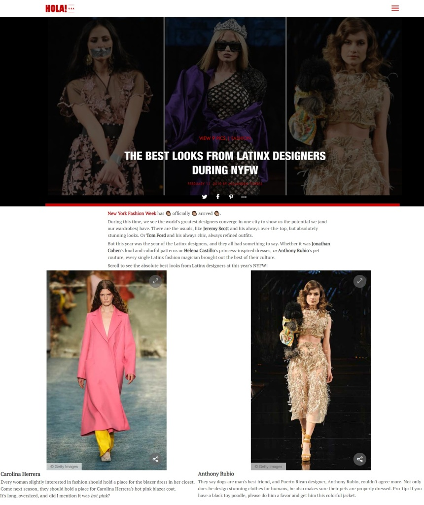 Anthony Rubio New York Fashion Week Show featured in HOLA! Magazine
