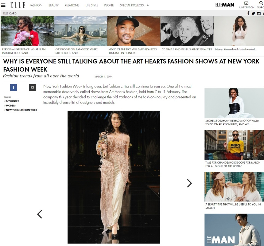 Anthony Rubio New York Fashion Week Show featured in ELLE Magazine