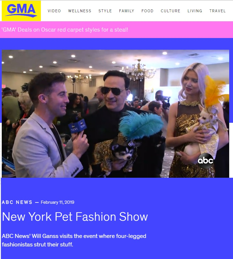 Anthony Rubio in a segment on Pet Fashion on ABC World News