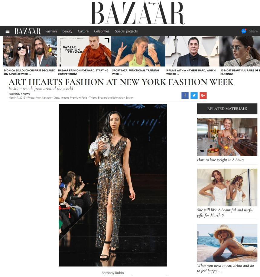 Anthony Rubio New York Fashion Week Show featured in Harper's Bazaar Magazine