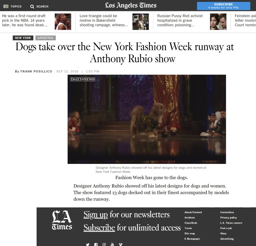 Anthony Rubio New York Fashion Week Show featured in LA Times