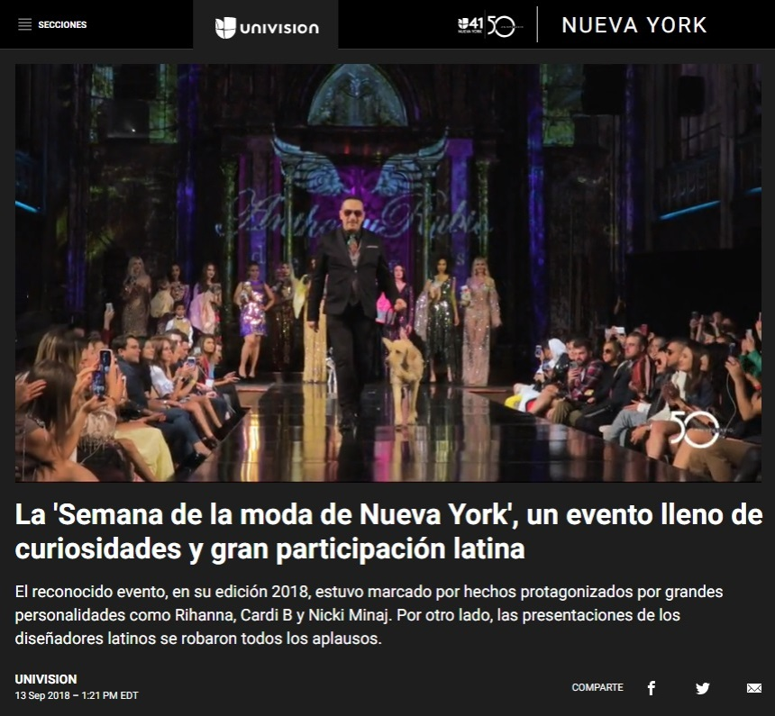 Anthony Rubio New York Fashion Week Show featured in Univision News