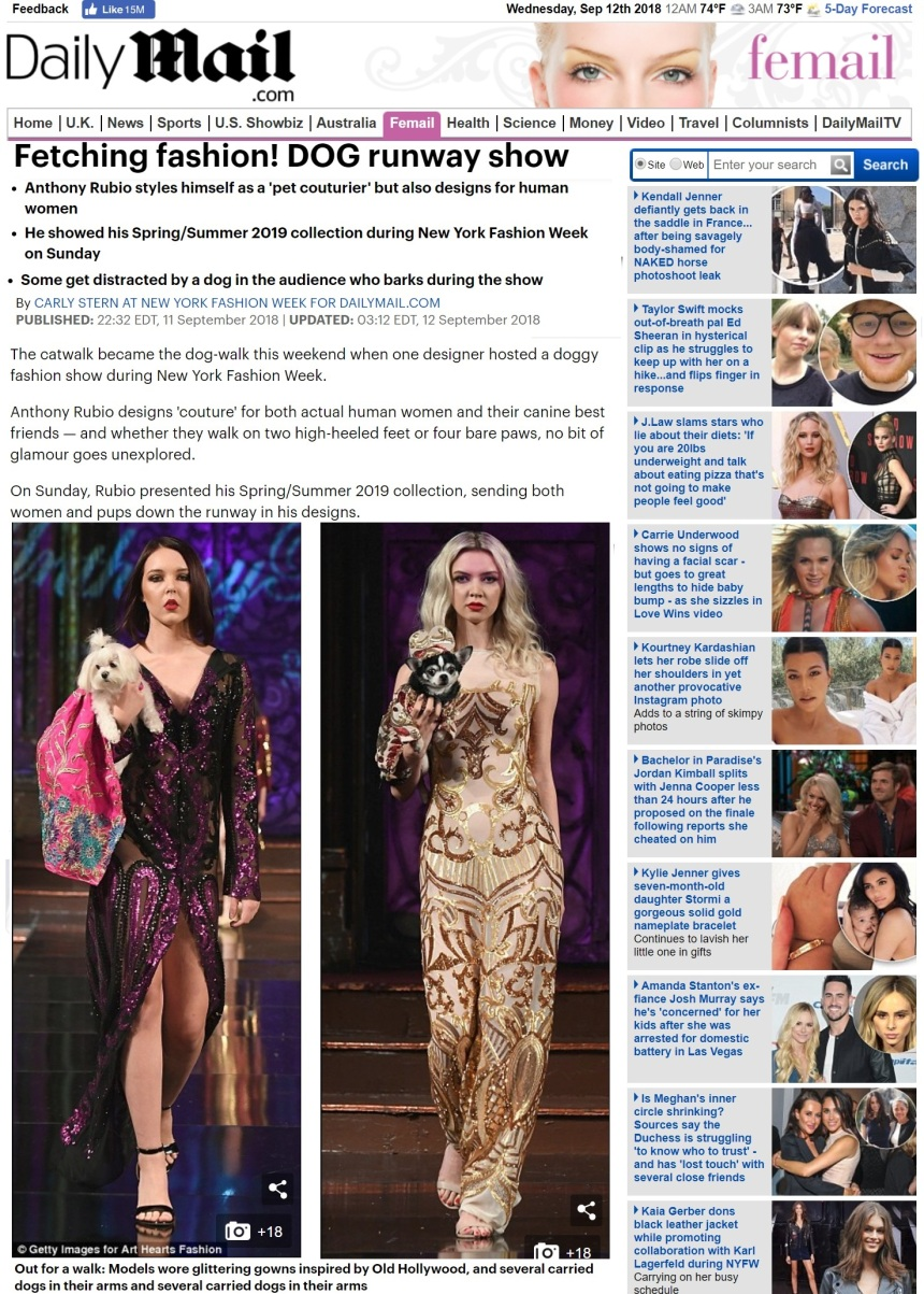 Anthony Rubio New York Fashion Week Show featured in UK Daily Mail
