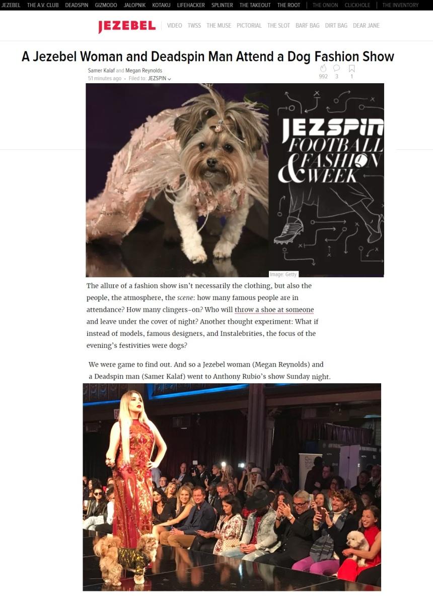 Anthony Rubio New York Fashion Week Show featured in JEZEBEL
