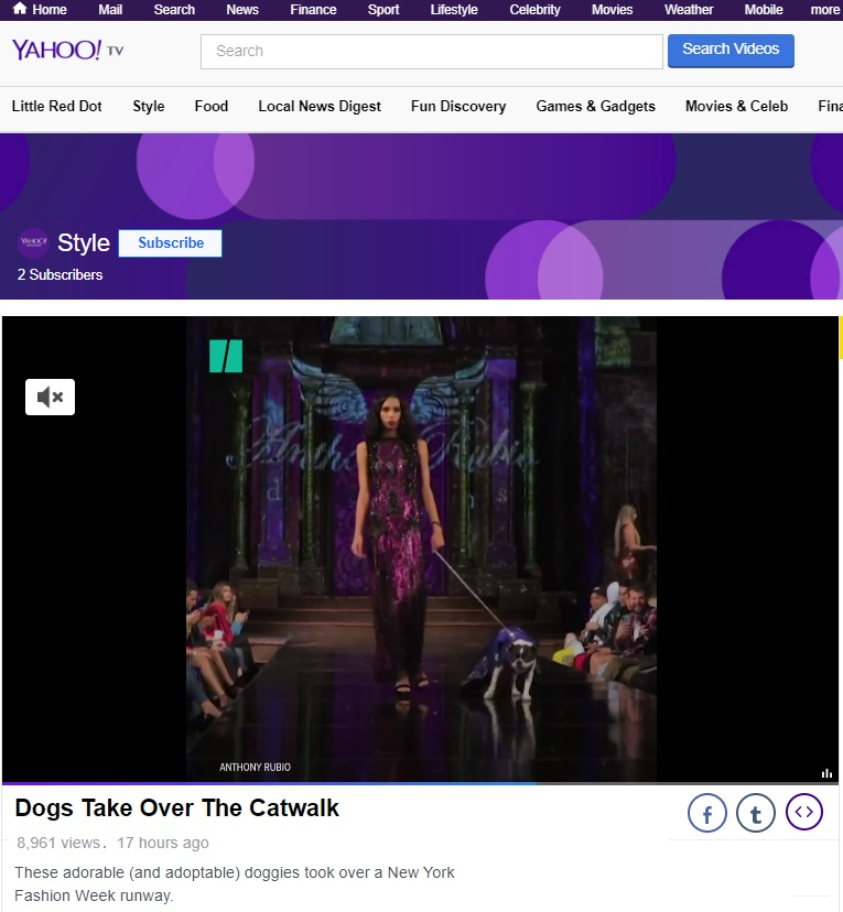 Anthony Rubio New York Fashion Week Show featured in Yahoo! News