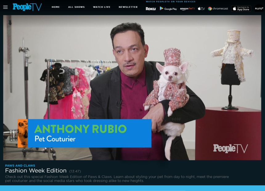 Anthony Rubio Interview for PEOPLE Magazine on Pet Fashion