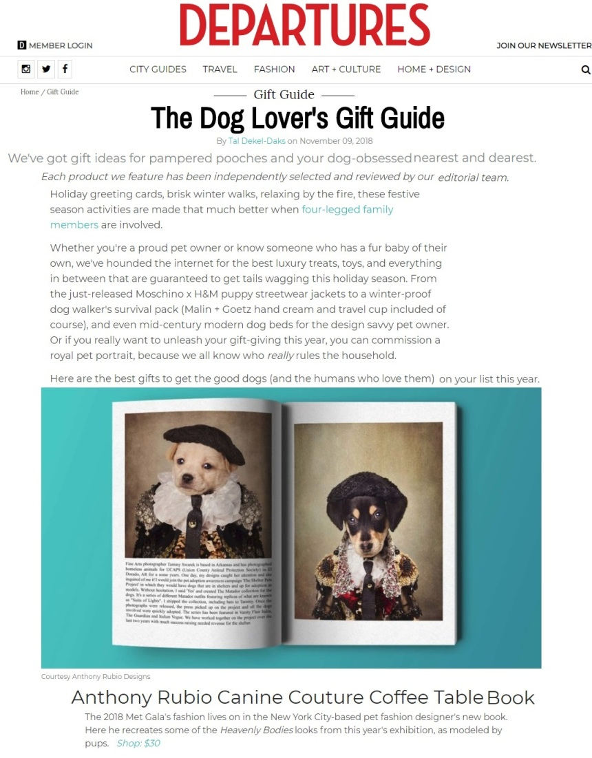 Anthony Rubio's coffee table book Canine Couture featured in DEPARTURES Magazine