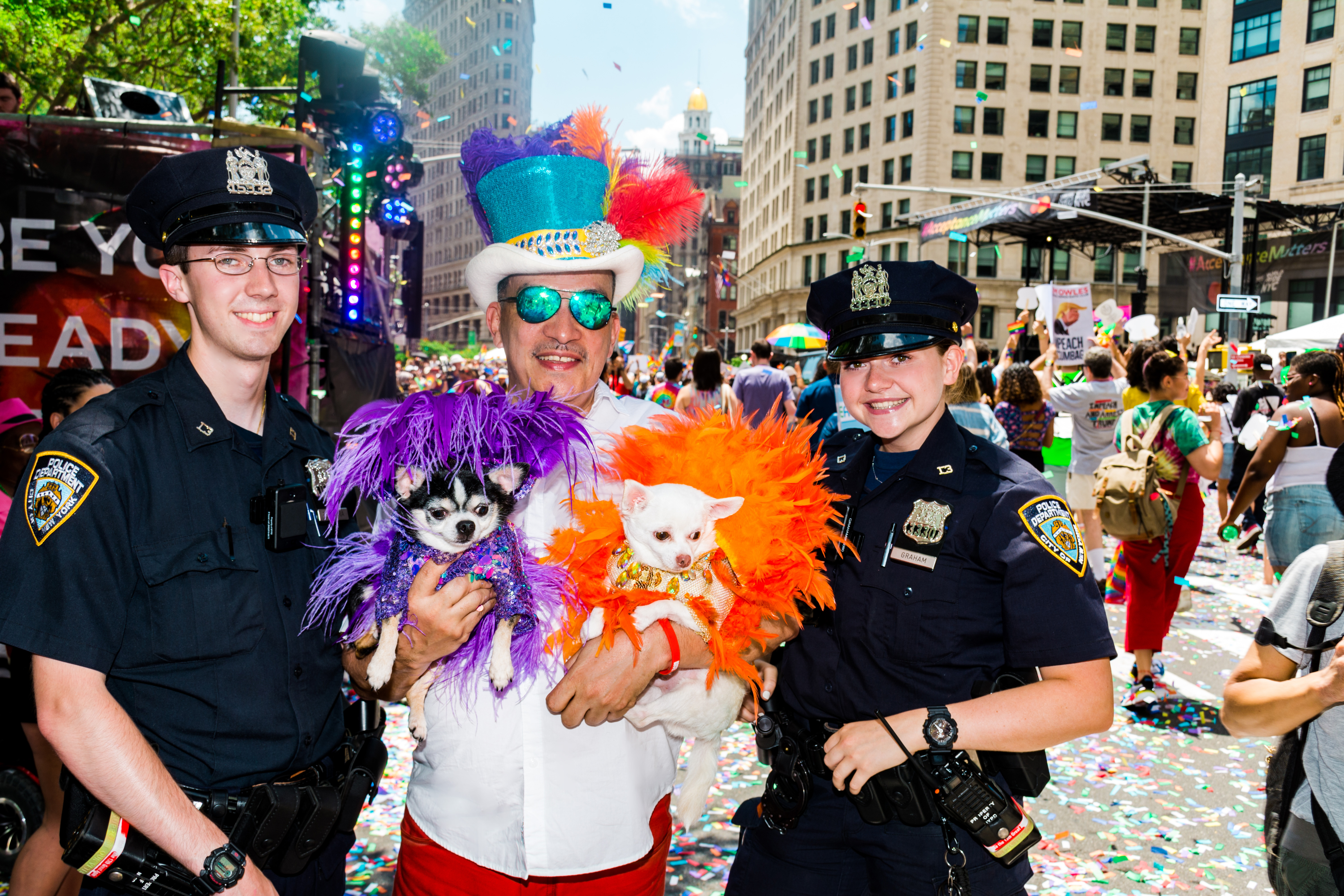 Anthony Rubio with Chihuahuas Bogie and Kimba at the 2019 Pride Parade March in New York