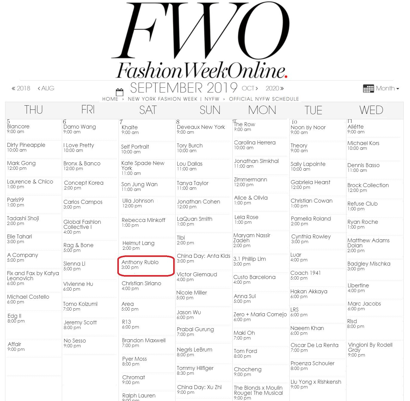 Anthony Rubio on the Fashion Week calendar