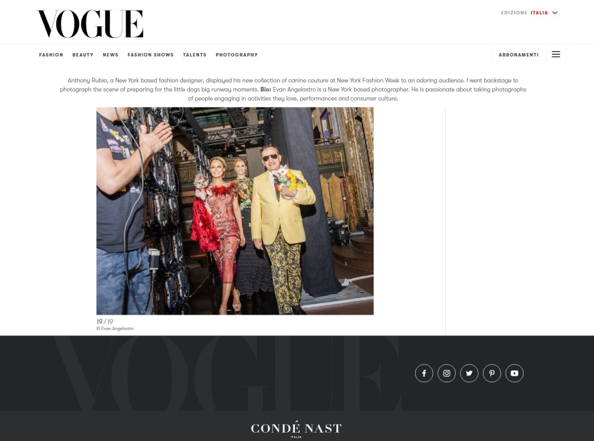 Anthony Rubio Spring/Summer 2020 New York Fashion Week Runway Show featured in VOGUE Italia