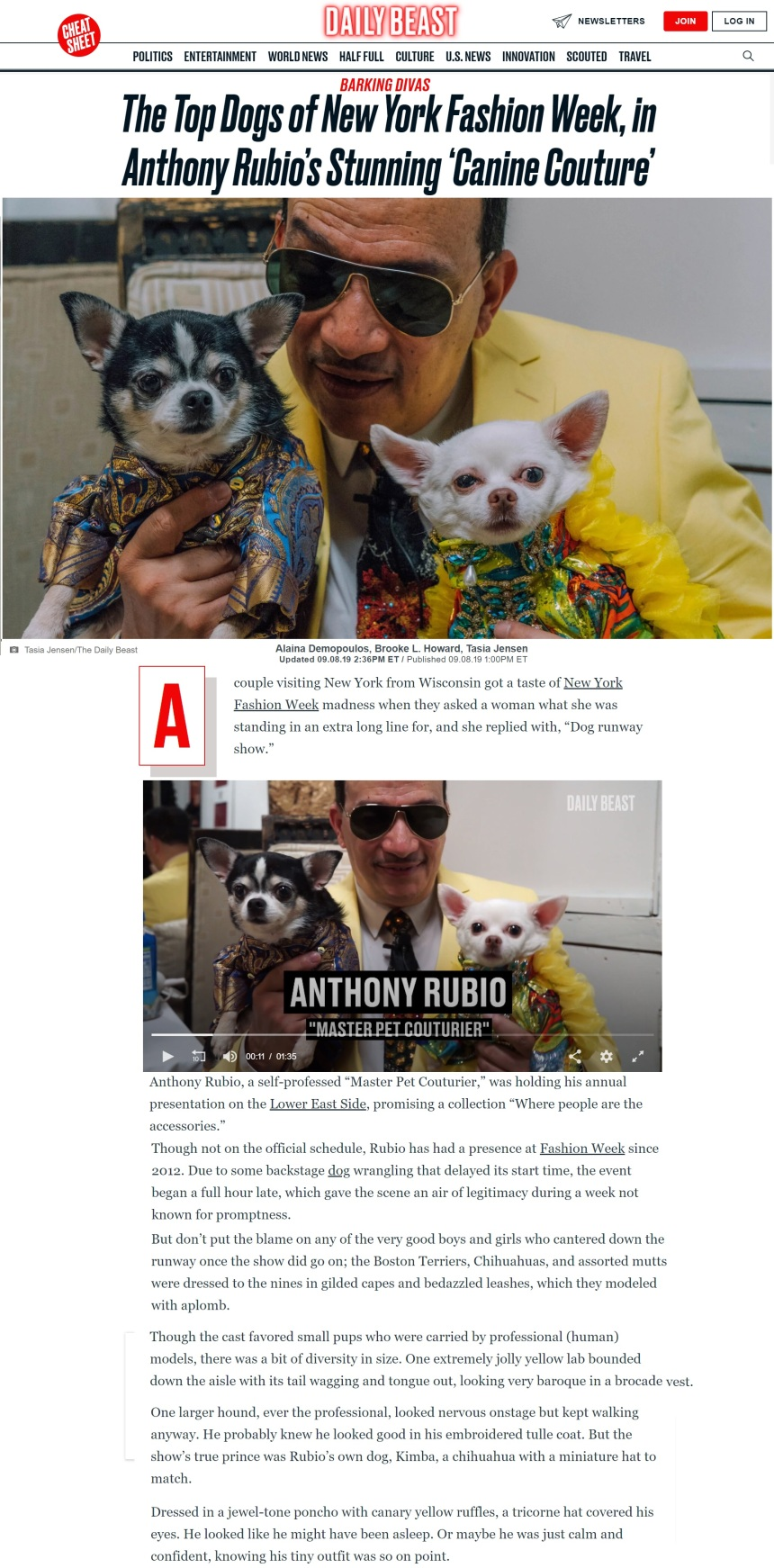 Anthony Rubio Designs Spring/Summer 2020 New York Fashion Week show featured in The Daily Beast