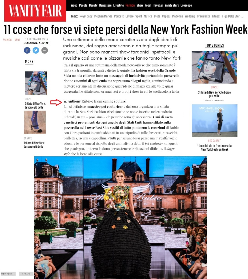 Anthony Rubio Designs Spring/Summer 2020 New York Fashion Week show featured in Vanity Fair Italia