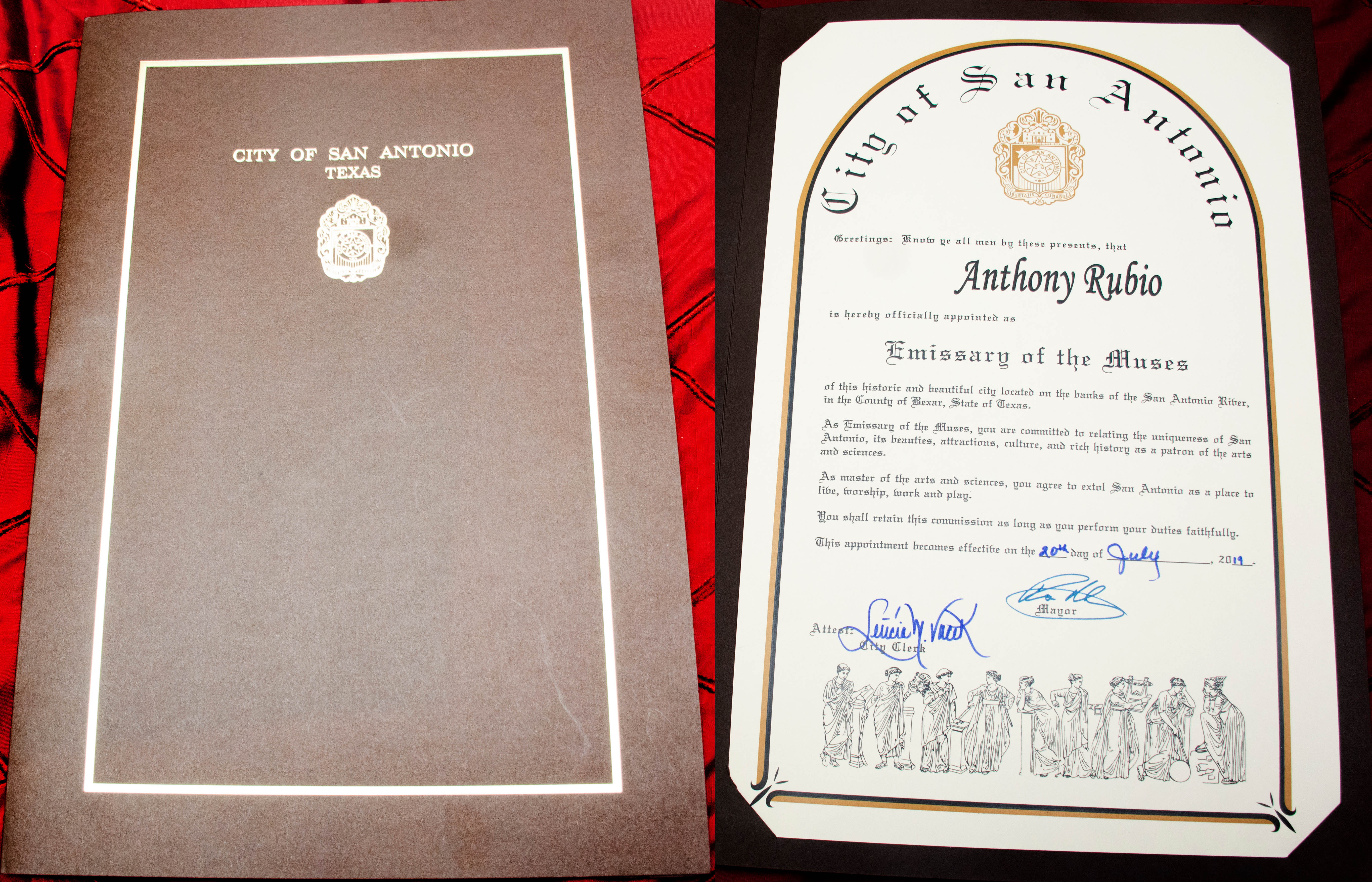 Anthony Rubio receives a Proclamation from San Antonio, Texas