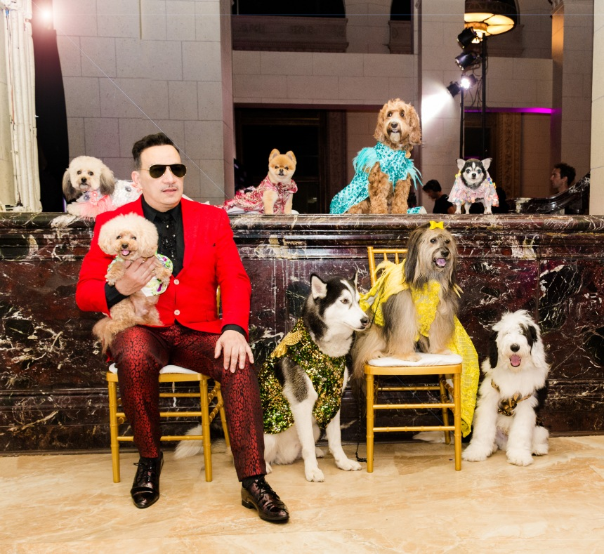 Anthony Rubio with Canine Models after his LA Fashion Week show